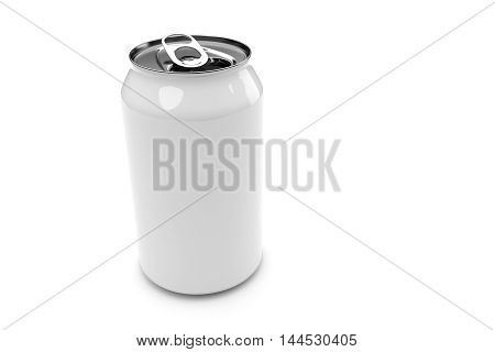 White Aluminum Beverage Can Isolated On A White Background 3d illustration