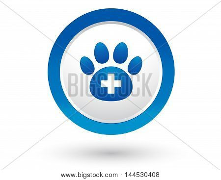 round veterinary icon with pet paw and cross