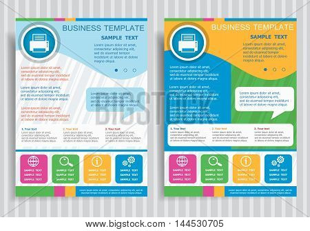 Printer Icon  On Vector Brochure Flyer Design Layout Template