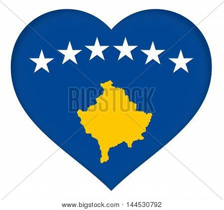 Illustration of the flag of Kosovo in the shape of a heart.