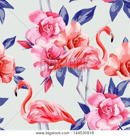 Beautiful composition of rose and pink flamingos hand drawn watercolor. Seamless floral vector pattern on pale light blue background. Fashion wallpaper with flowers leaves and bird