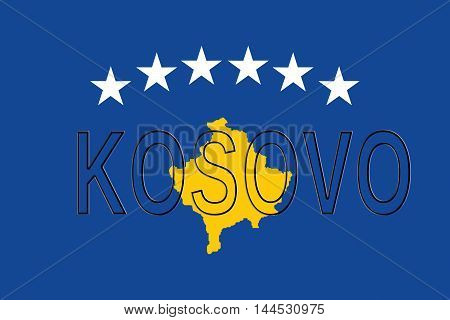 Illustration of the flag of Kosovo with the country written on the Flag