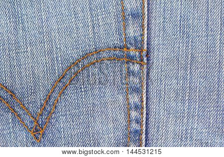 Blue jeans abstract background with threads seam
