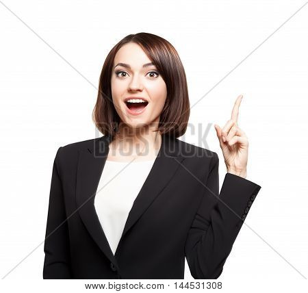 Business woman showing finger up and looking happy isolated on white background