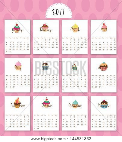 2017 calendar start on monday each month with individual table. Delicious cartoon sweets.