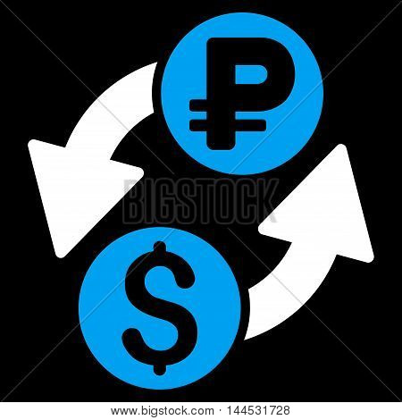 Dollar Rouble Exchange icon. Vector style is bicolor flat iconic symbol with rounded angles, blue and white colors, black background.
