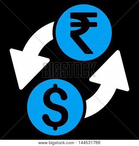Dollar Rupee Exchange icon. Vector style is bicolor flat iconic symbol with rounded angles, blue and white colors, black background.