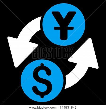Dollar Yuan Exchange icon. Vector style is bicolor flat iconic symbol with rounded angles, blue and white colors, black background.