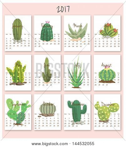 2017 calendar start on monday each month with individual table. Cartoon Cactus background.