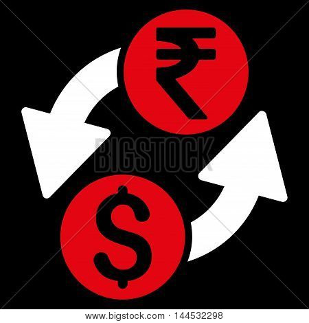 Dollar Rupee Exchange icon. Vector style is bicolor flat iconic symbol with rounded angles, red and white colors, black background.