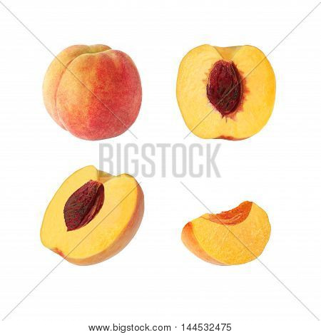 Collection of whole and cut peach fruits isolated on white background with clipping path