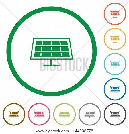 Set of solar panel color round outlined flat icons on white background