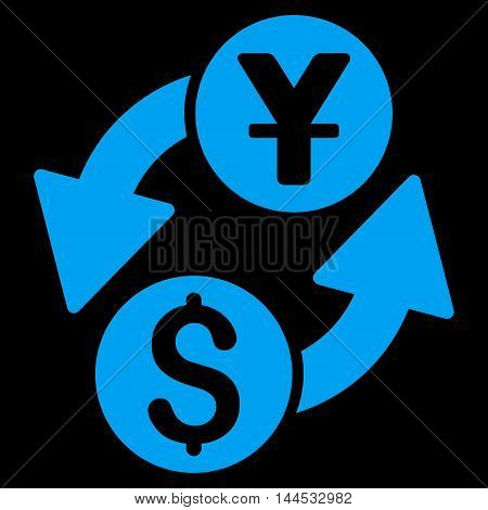 Dollar Yuan Exchange icon. Vector style is flat iconic symbol with rounded angles, blue color, black background.