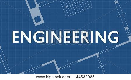 illustration of blueprint engineering word and house on blue backgound