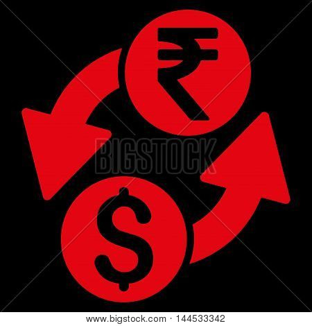 Dollar Rupee Exchange icon. Vector style is flat iconic symbol with rounded angles, red color, black background.