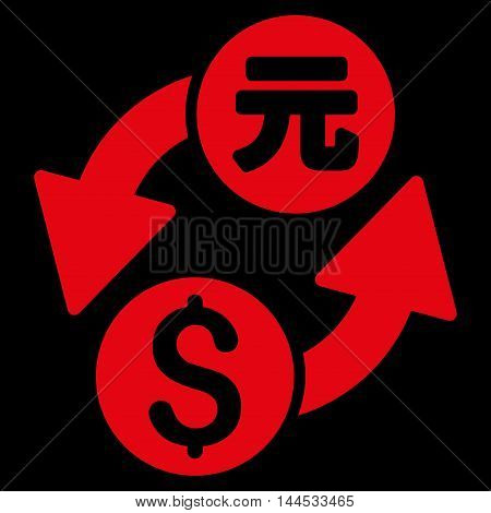 Dollar Yuan Exchange icon. Vector style is flat iconic symbol with rounded angles, red color, black background.