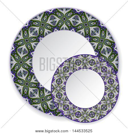 Two blue circular ornaments to dishes, plates and souvenirs. Vector illustration.
