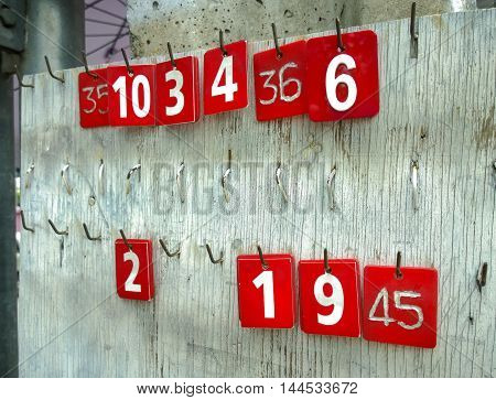 Numbers tags hanging in an old wooden, Retro color effect