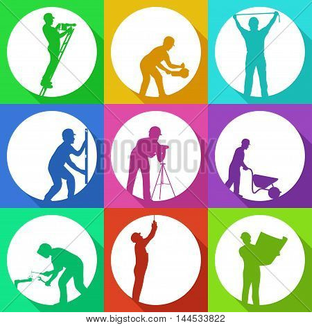 illustration of set workers colored silhouettes with shadows