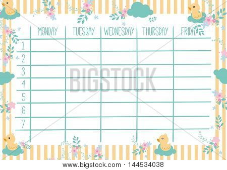 Cute Calendar Weekly Planner Template with yellow ducks. Organizer and Schedule.