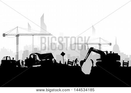 illustration of silhouette construction vehicles digging a hole on megapolis background