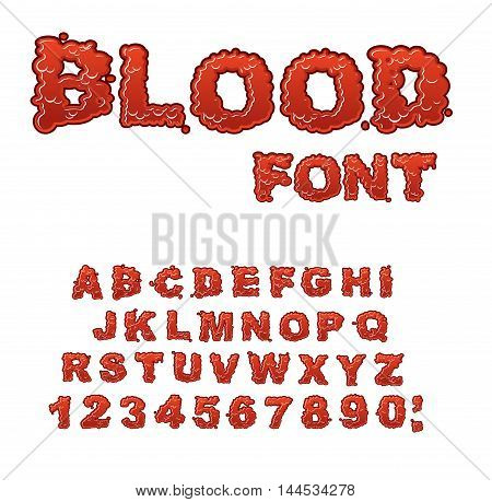 Blood Font. Red Liquid Letter. Fluid Lettring. Bloody Abc Of Scarlet Sign. Alphabet Gore
