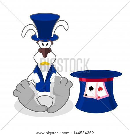 White Rabbit In Blue Hat. Bunny In Waistcoat. Cylinder Is Mad Hatter. Illustration For Alice In Wond