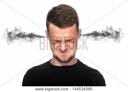 Angry man with smoke or fume coming out from his ears on white background.