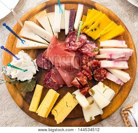 Plate of sicilian cheese and salami seen in Ragusa