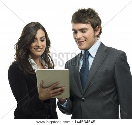 Business people analyze and work with tablet