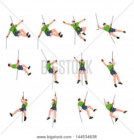 illustration of set male rock climber colored on white background