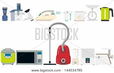 A set of isolated small household appliances for the home and kitchen on a white background. Vector illustration