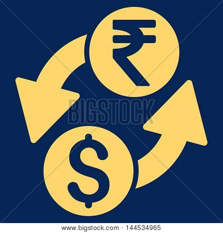 Dollar Rupee Exchange icon. Vector style is flat iconic symbol with rounded angles, yellow color, blue background.