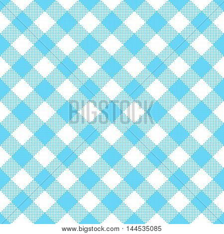Blue and white tablecloth pattern - vector illustration