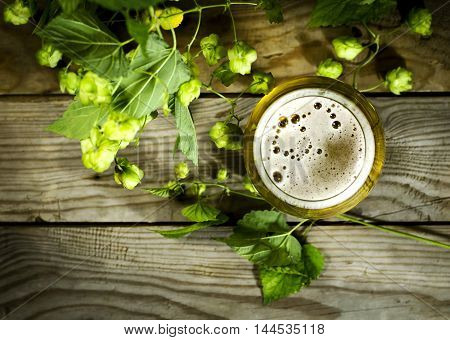 Glass of cold beer with hops on a wooden background. Top view