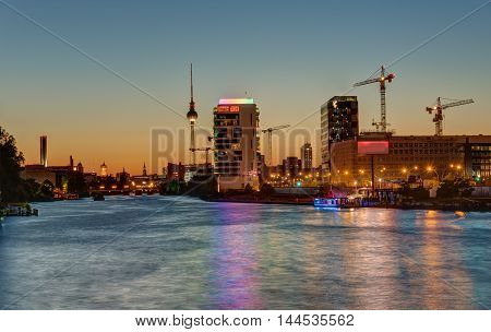 The River Spree in Berlin at sunset with the TV Tower in the back