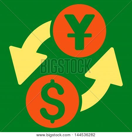 Dollar Yuan Exchange icon. Vector style is bicolor flat iconic symbol with rounded angles, orange and yellow colors, green background.