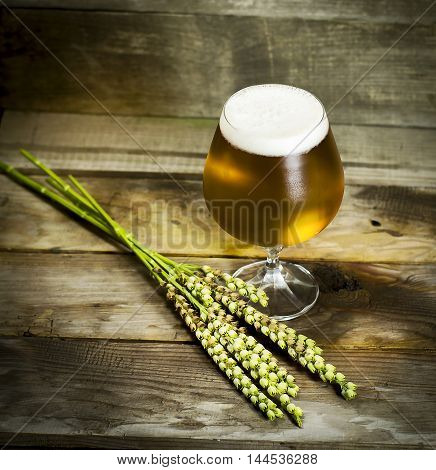 Glass of cold beer with wheat spikelets on wooden background.