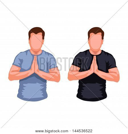 illustration of set of two male silhouettes praying on white background