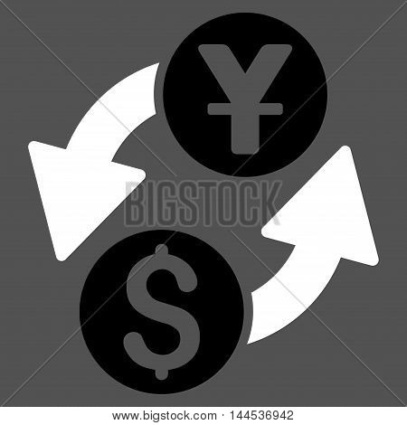 Dollar Yuan Exchange icon. Vector style is bicolor flat iconic symbol with rounded angles, black and white colors, gray background.