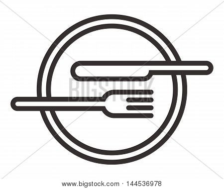 Plate knife and fork sign isolated on white background