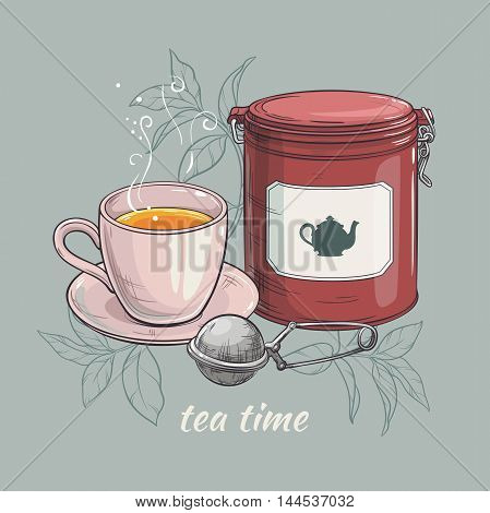 vector illustration with cup of tea with round tin packaging and tea-strainer