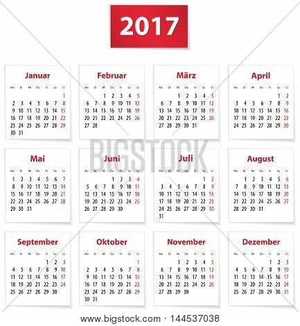 Calendar for 2017 year in German on white paper. Vector illustration