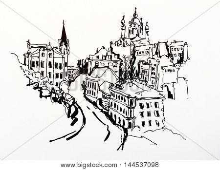 black and white sketch drawing of Andrew's descent - one of the most popular places in Kyiv Ukraine