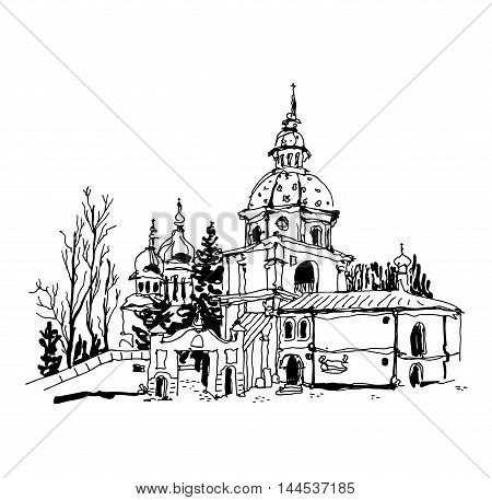 black and white sketch drawing of Vydubychi monastery in Kyiv Ukraine, sketching for postcard or travel book vector illustration