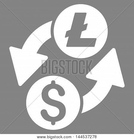 Dollar Litecoin Exchange icon. Vector style is flat iconic symbol with rounded angles, white color, gray background.