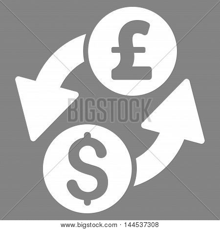 Dollar Pound Exchange icon. Vector style is flat iconic symbol with rounded angles, white color, gray background.
