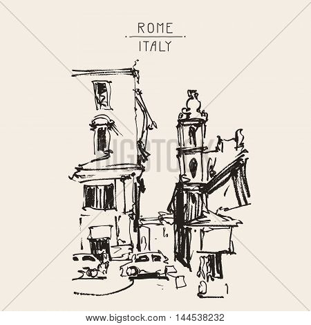 freehand sketch sepia drawing of Rome Italy landscape, pleinair artwork vector illustration