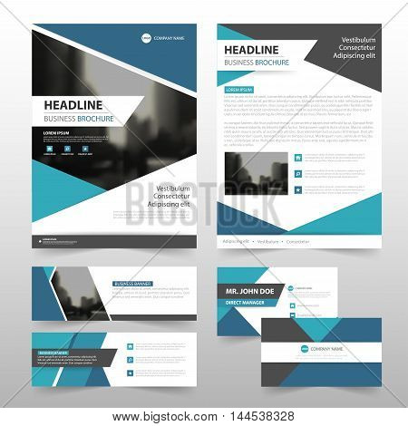 Abstract triangle blue Stationery set annual report leaflet flyer template business banner and business card template for website