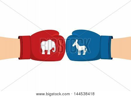 Elephant And Donkey Boxing Gloves. Symbols Of Usa Political Party. American Democrat Versus Republic
